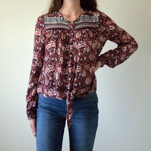 Lucky Brand Tie Front Top